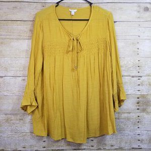 Cato Long Bell Sleeve Boho Style Shirt Top Large